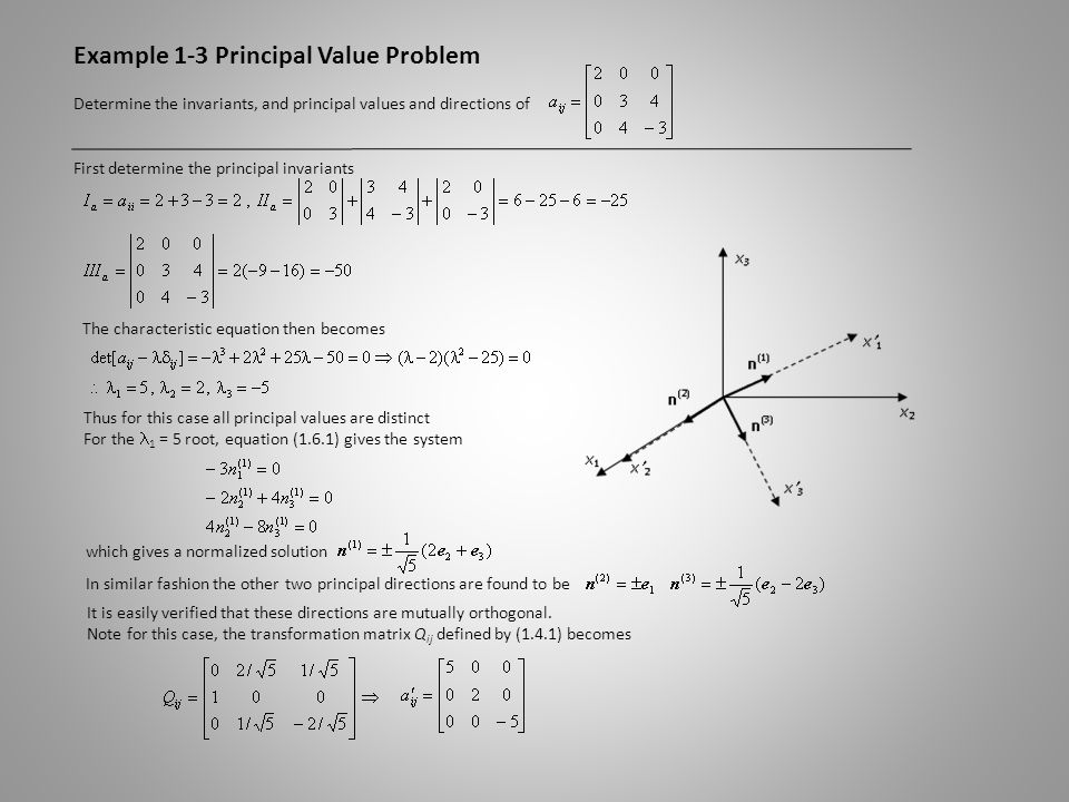 Example 1-3 Principal Value Problem Determine the invariants, and principal values and directions of First determine the principal invariants The char