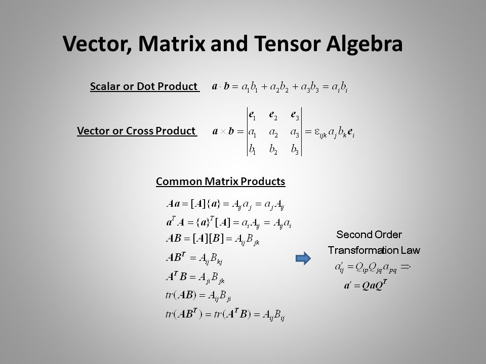 Vector, Matrix and Tensor Algebra Scalar or Dot Product Vector or Cross Product Common Matrix Products