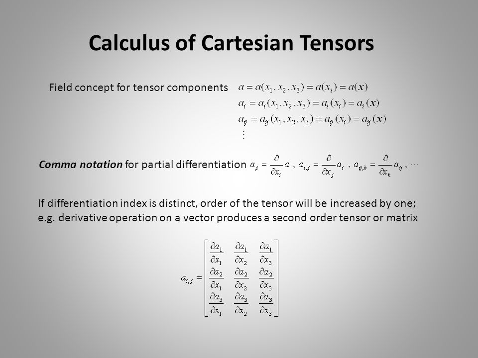 Calculus of Cartesian Tensors Field concept for tensor components Comma notation for partial differentiation If differentiation index is distinct, ord