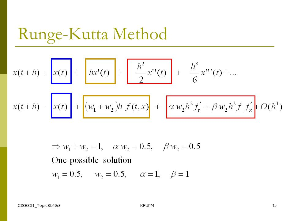 CISE301_Topic8L4&5KFUPM15 Runge-Kutta Method