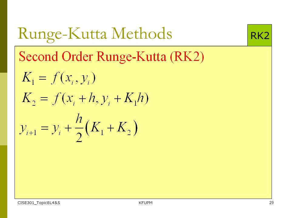 CISE301_Topic8L4&5KFUPM29 Runge-Kutta Methods RK2