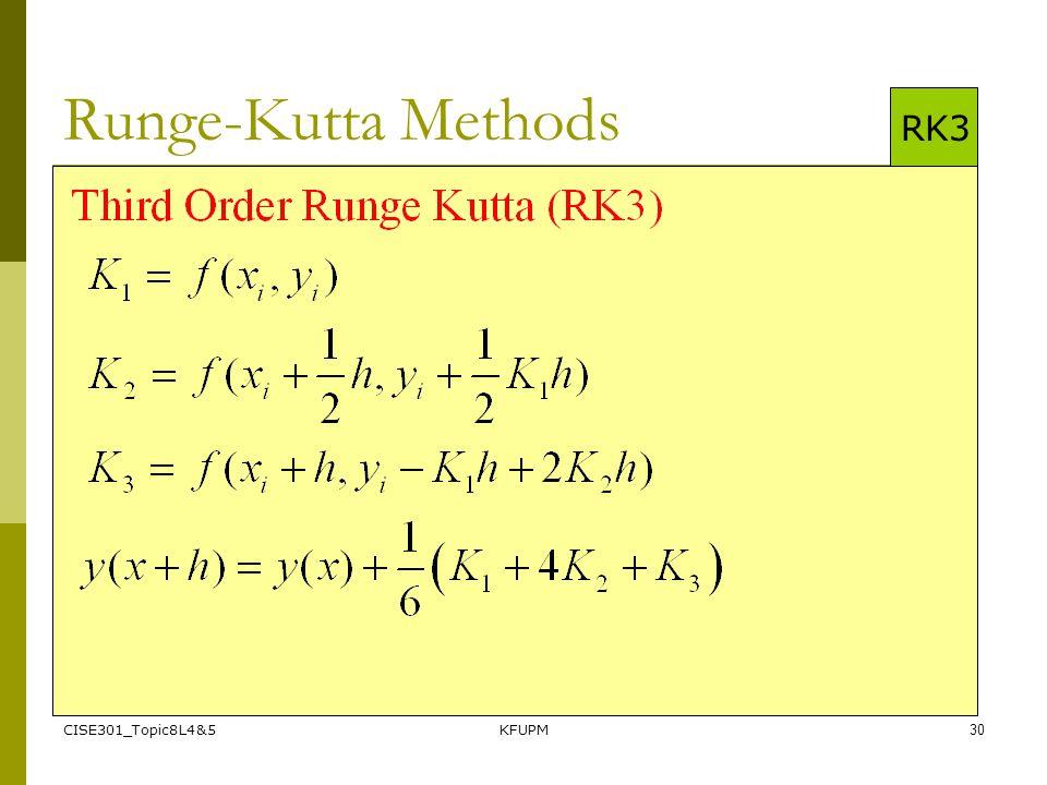 CISE301_Topic8L4&5KFUPM30 Runge-Kutta Methods RK3