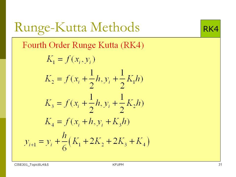 CISE301_Topic8L4&5KFUPM31 Runge-Kutta Methods RK4