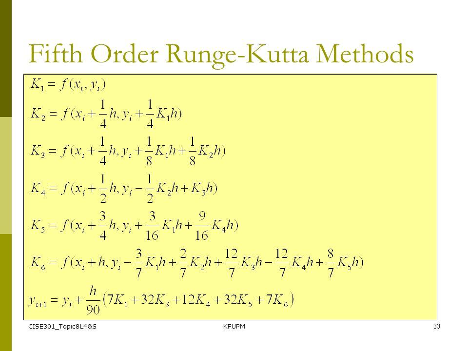 CISE301_Topic8L4&5KFUPM33 Fifth Order Runge-Kutta Methods