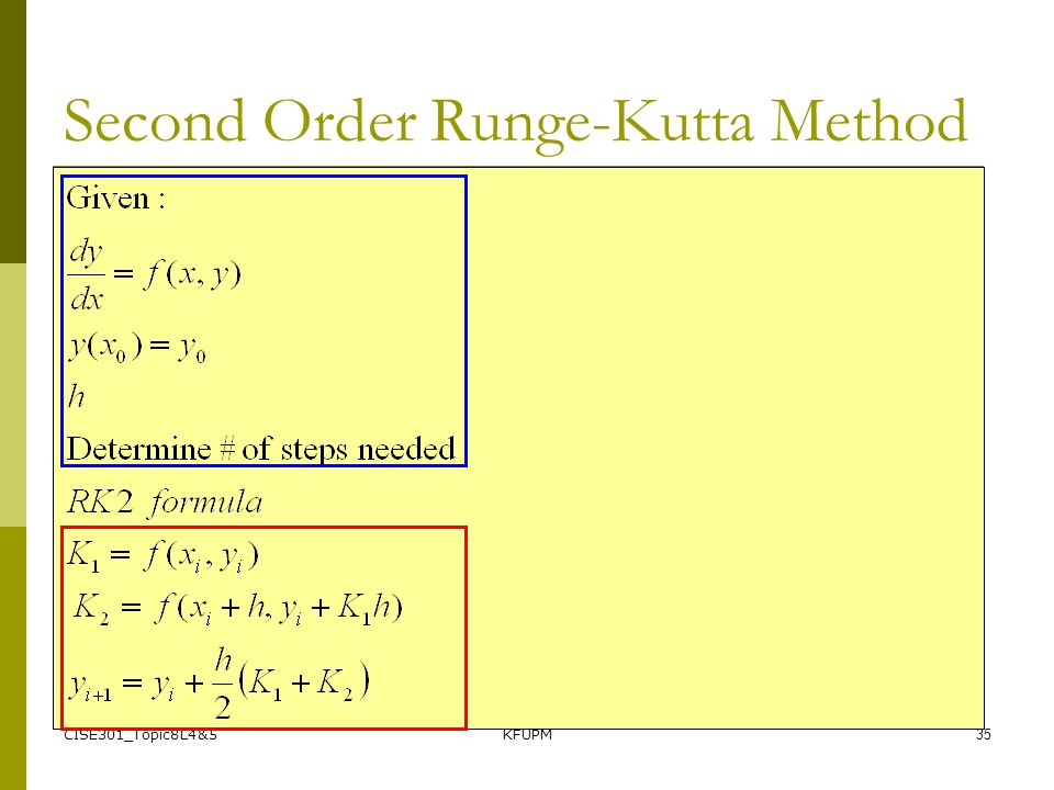 CISE301_Topic8L4&5KFUPM35 Second Order Runge-Kutta Method