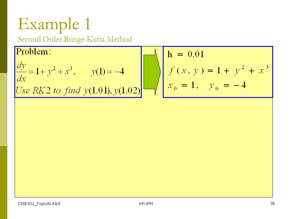 CISE301_Topic8L4&5KFUPM38 Example 1 Second Order Runge-Kutta Method
