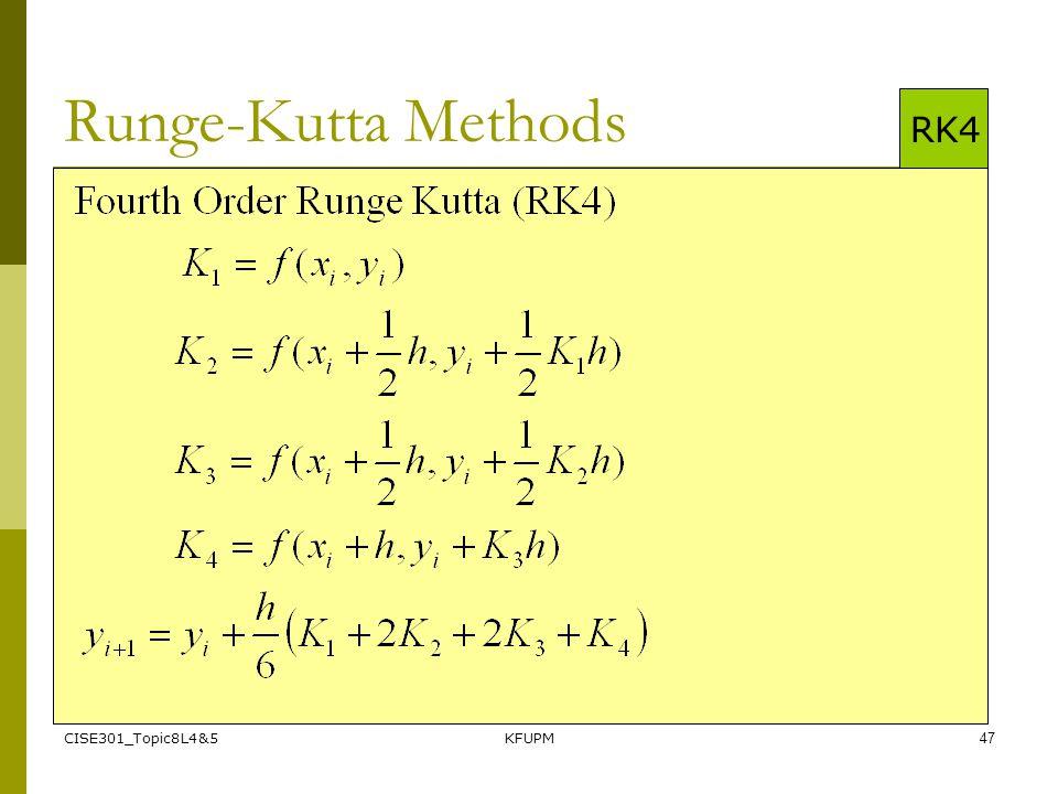 CISE301_Topic8L4&5KFUPM47 Runge-Kutta Methods RK4