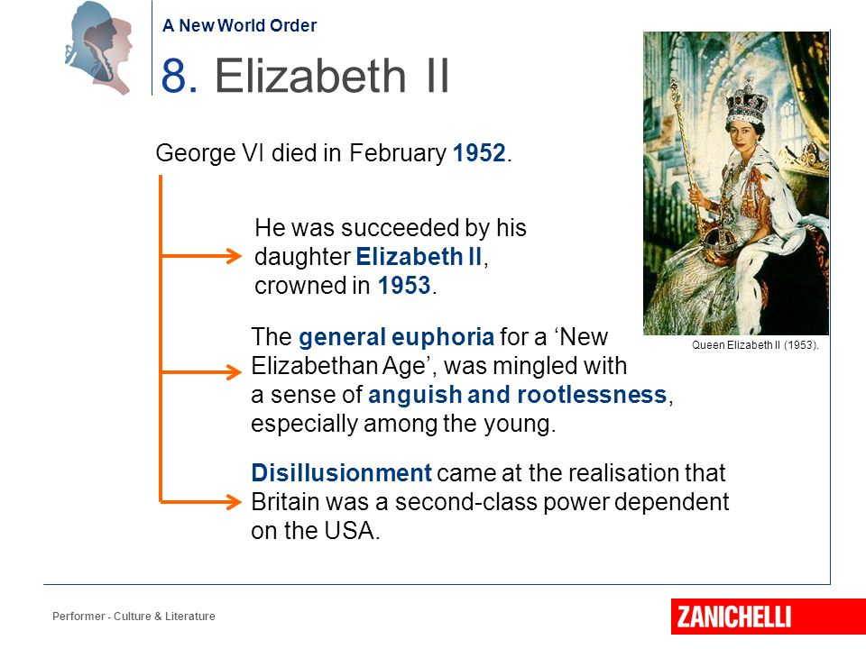 The birth of the Nation Performer - Culture & Literature 8. Elizabeth II George VI died in February 1952. A New World Order He was succeeded by his da