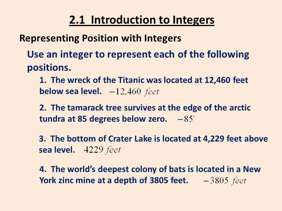 2.1 Introduction to Integers Representing Position with Integers Use an integer to represent each of the following positions. 4. The worlds deepest co