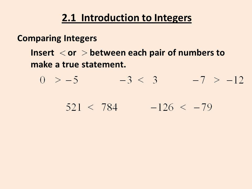 2.1 Introduction to Integers Comparing Integers Insert or between each pair of numbers to make a true statement.