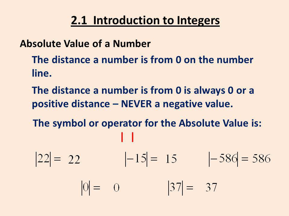2.1 Introduction to Integers Absolute Value of a Number The distance a number is from 0 on the number line. The distance a number is from 0 is always