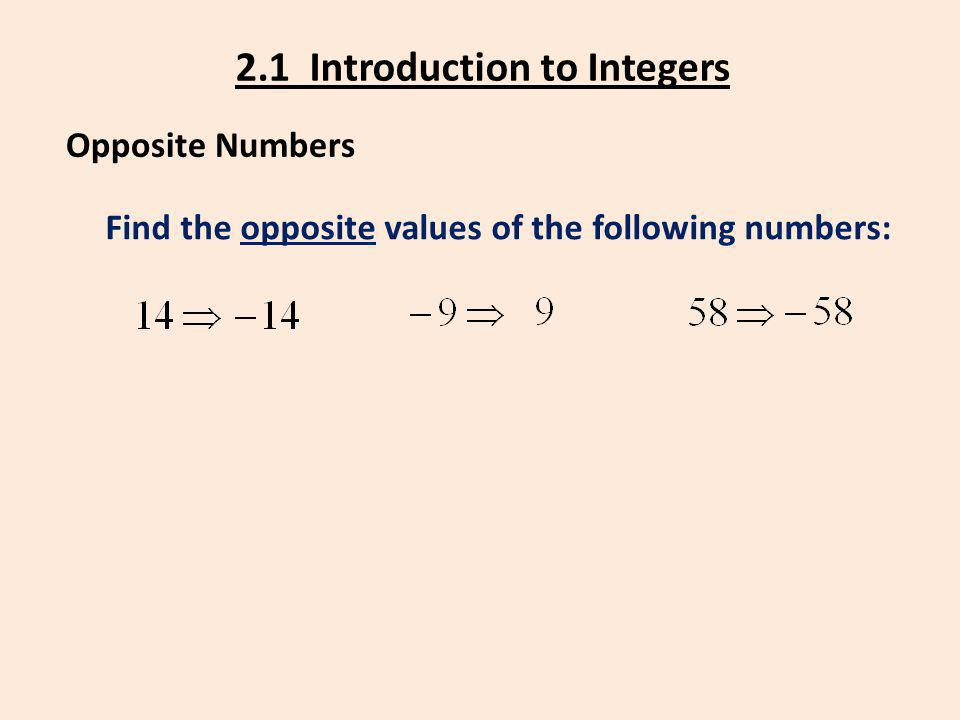 2.1 Introduction to Integers Opposite Numbers Find the opposite values of the following numbers: