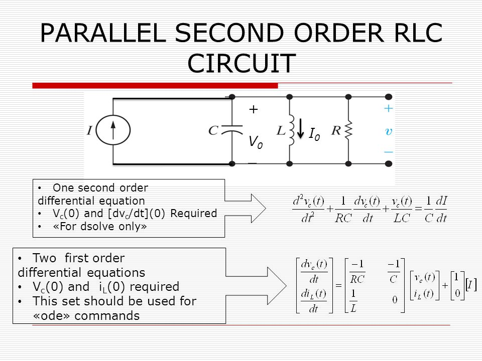PARALLEL SECOND ORDER RLC CIRCUIT I0I0 +V0_+V0_ One second order differential equation V c (0) and [dv c /dt](0) Required «For dsolve only» Two first