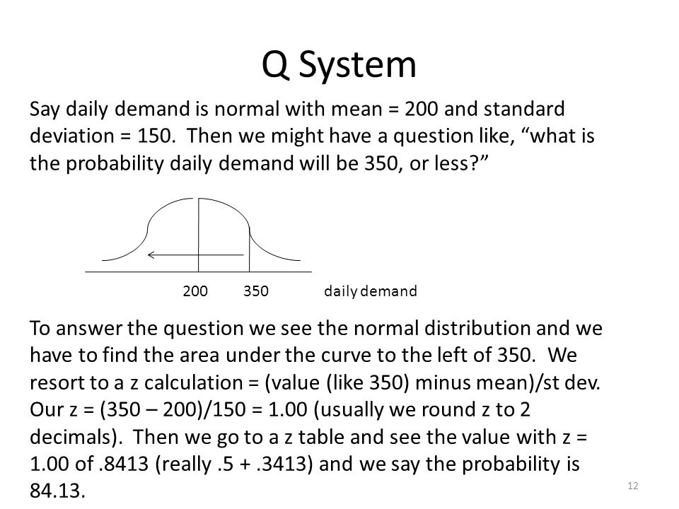Q System 12 Say daily demand is normal with mean = 200 and standard deviation = 150.