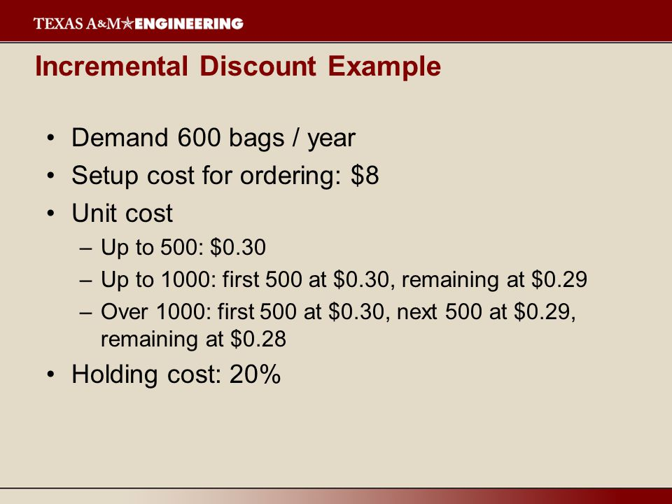 Incremental Discount Example Demand 600 bags / year Setup cost for ordering: $8 Unit cost –Up to 500: $0.30 –Up to 1000: first 500 at $0.30, remaining at $0.29 –Over 1000: first 500 at $0.30, next 500 at $0.29, remaining at $0.28 Holding cost: 20%