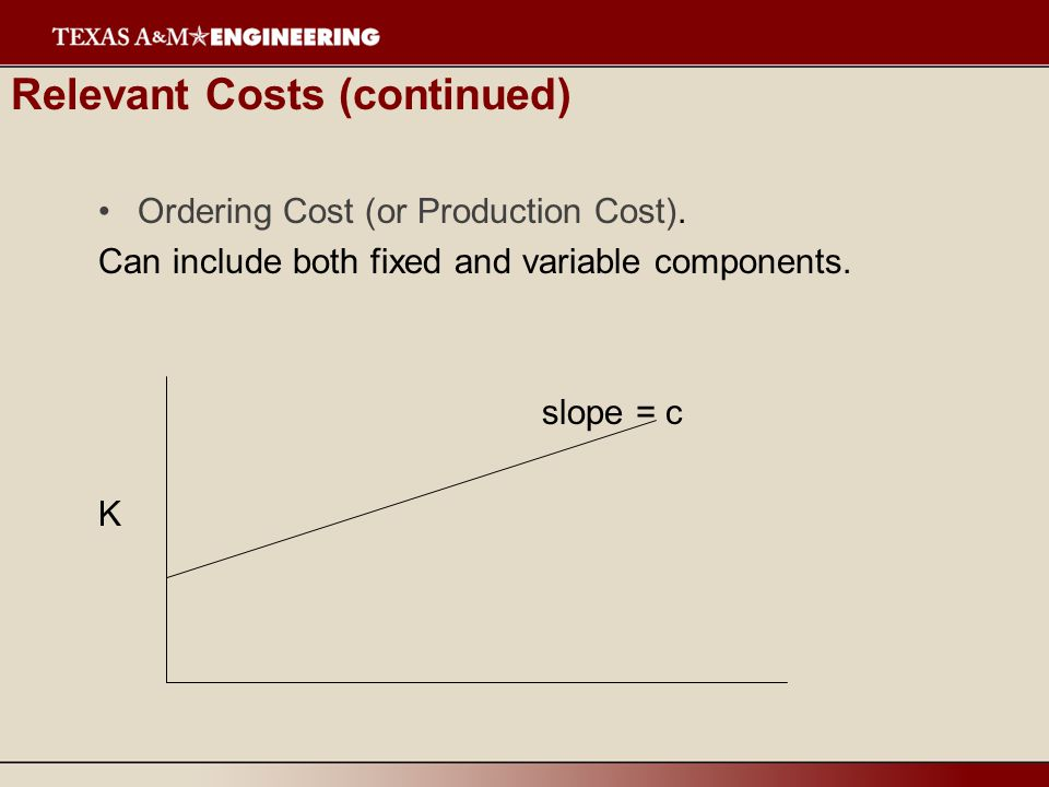 Relevant Costs (continued) Penalty or Shortage Costs.