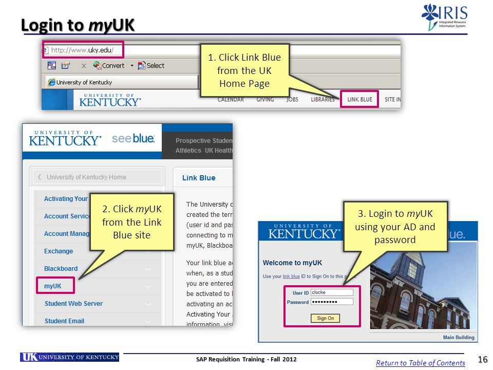 Login to myUK 3. Login to myUK using your AD and password 2. Click myUK from the Link Blue site 1. Click Link Blue from the UK Home Page 16 Return to