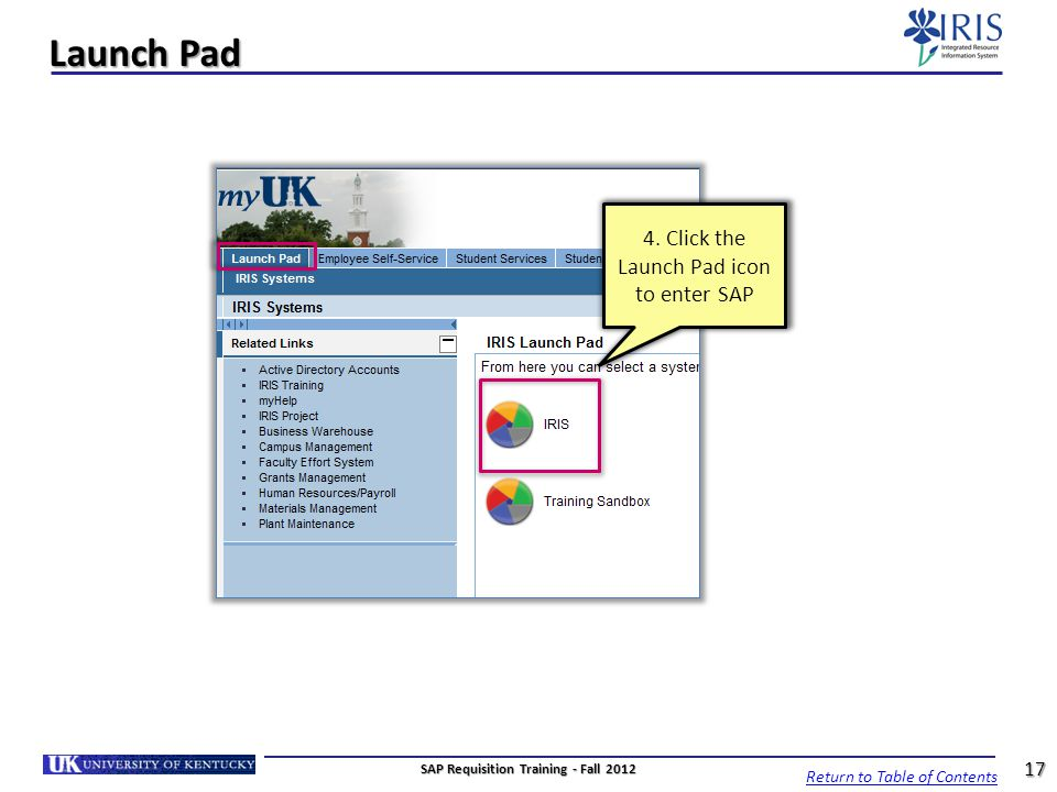 Launch Pad Return to Table of Contents 17 SAP Requisition Training - Fall 2012