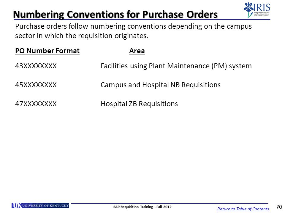 Numbering Conventions for Purchase Orders Purchase orders follow numbering conventions depending on the campus sector in which the requisition origina