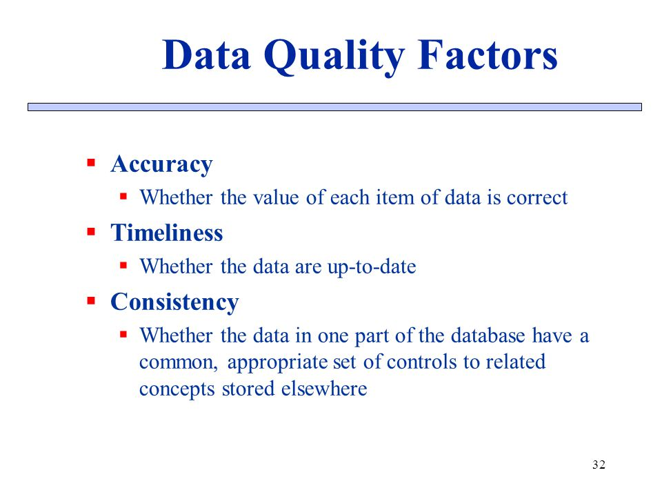Accuracy Whether the value of each item of data is correct Timeliness Whether the data are up-to-date Consistency Whether the data in one part of the