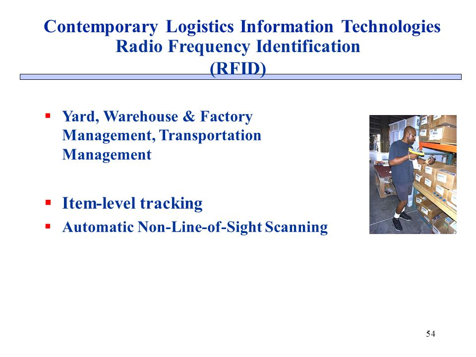 54 Radio Frequency Identification (RFID) Contemporary Logistics Information Technologies Yard, Warehouse & Factory Management, Transportation Manageme