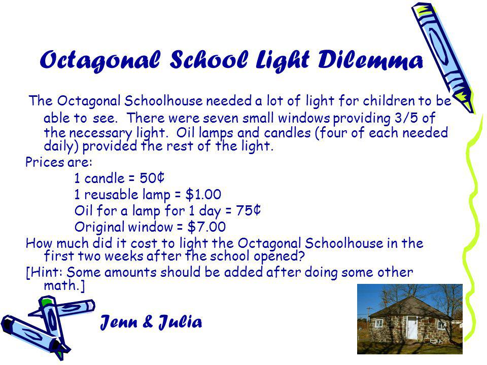 Octagonal School Light Dilemma The Octagonal Schoolhouse needed a lot of light for children to be able to see.