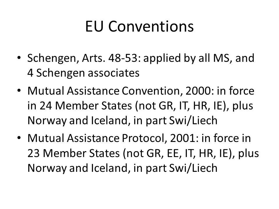 EU Conventions Schengen, Arts. 48-53: applied by all MS, and 4 Schengen associates Mutual Assistance Convention, 2000: in force in 24 Member States (n