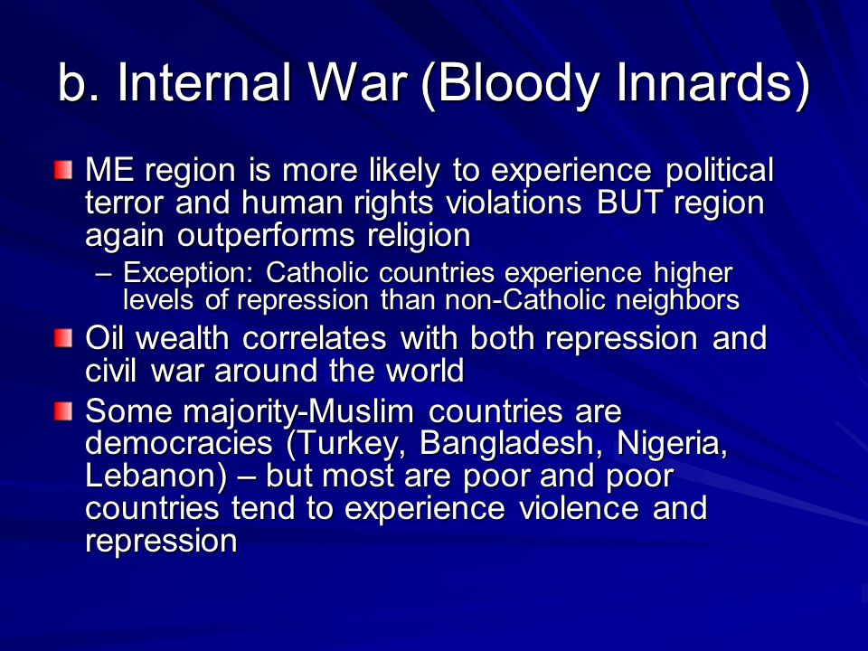 b. Internal War (Bloody Innards) ME region is more likely to experience political terror and human rights violations BUT region again outperforms reli