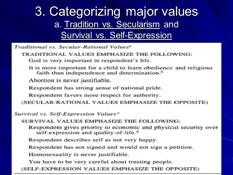 3. Categorizing major values a. Tradition vs. Secularism and Survival vs. Self-Expression