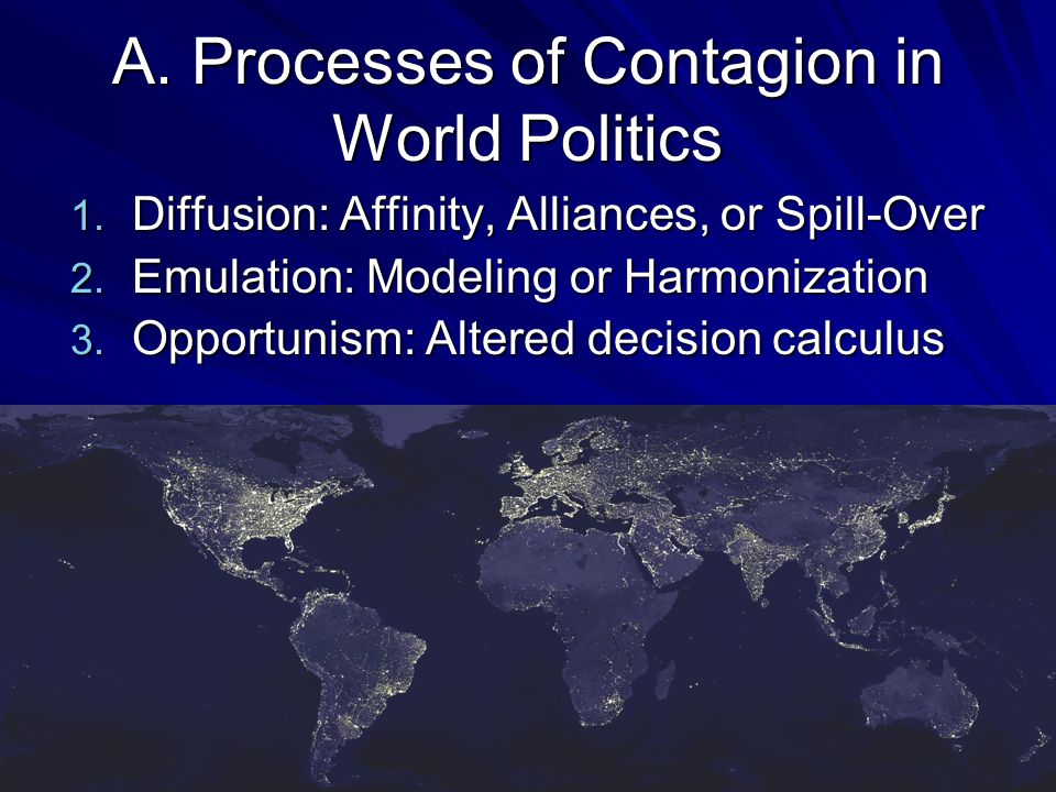 A. Processes of Contagion in World Politics 1. Diffusion: Affinity, Alliances, or Spill-Over 2.