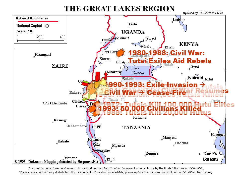 1988: Tutsis Kill 20,000 Hutus 1972: Tutsis Kill 100,000 Hutu Elites 1993: 50,000 Civilians Killed 1963: Invasion: 10,000 Tutsis Killed 1959: Hutu Revolt Displaces Tutsis 1980-1988: Civil War: Tutsi Exiles Aid Rebels 1994: Genocide: Civil War Resumes 1990-1993: Exile Invasion Civil War Cease-Fire