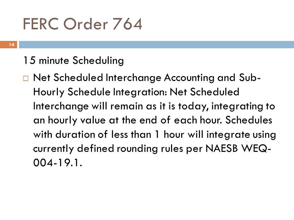FERC Order 764 14 15 minute Scheduling Net Scheduled Interchange Accounting and Sub- Hourly Schedule Integration: Net Scheduled Interchange will remai