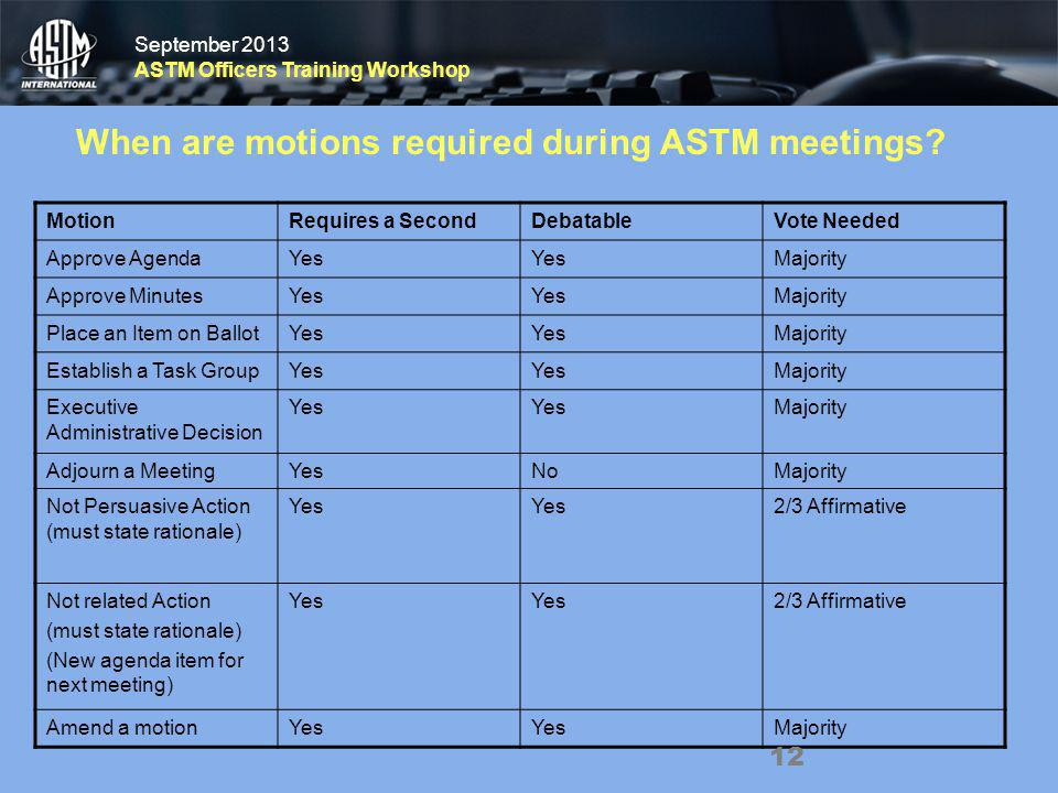 September 2013 ASTM Officers Training Workshop September 2013 ASTM Officers Training Workshop MotionRequires a SecondDebatableVote Needed Approve Agen