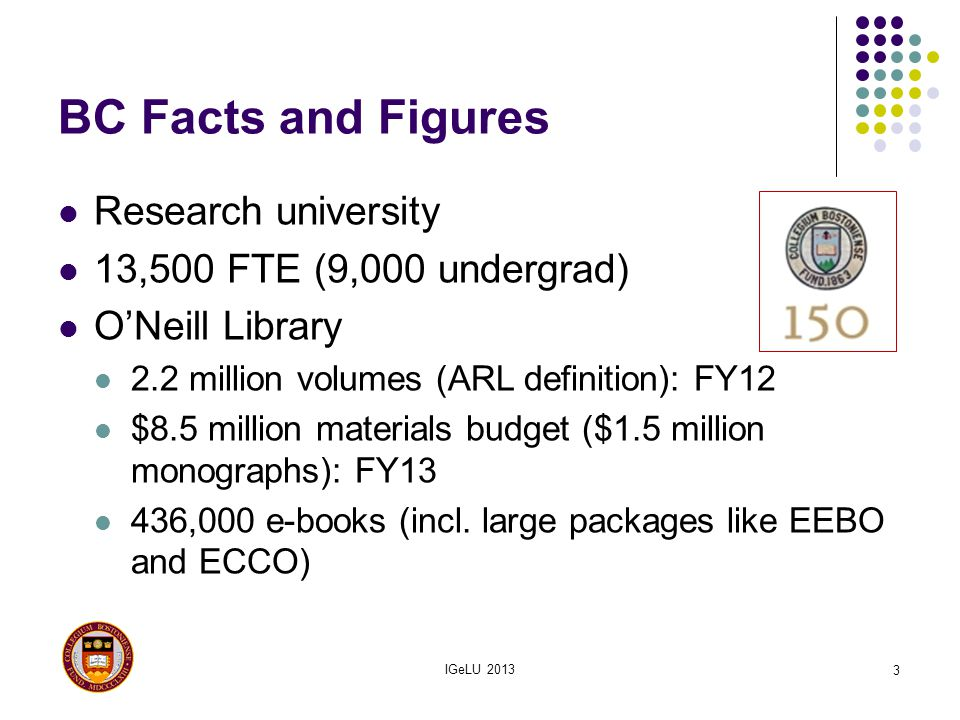BC Facts and Figures Research university 13,500 FTE (9,000 undergrad) ONeill Library 2.2 million volumes (ARL definition): FY12 $8.5 million materials