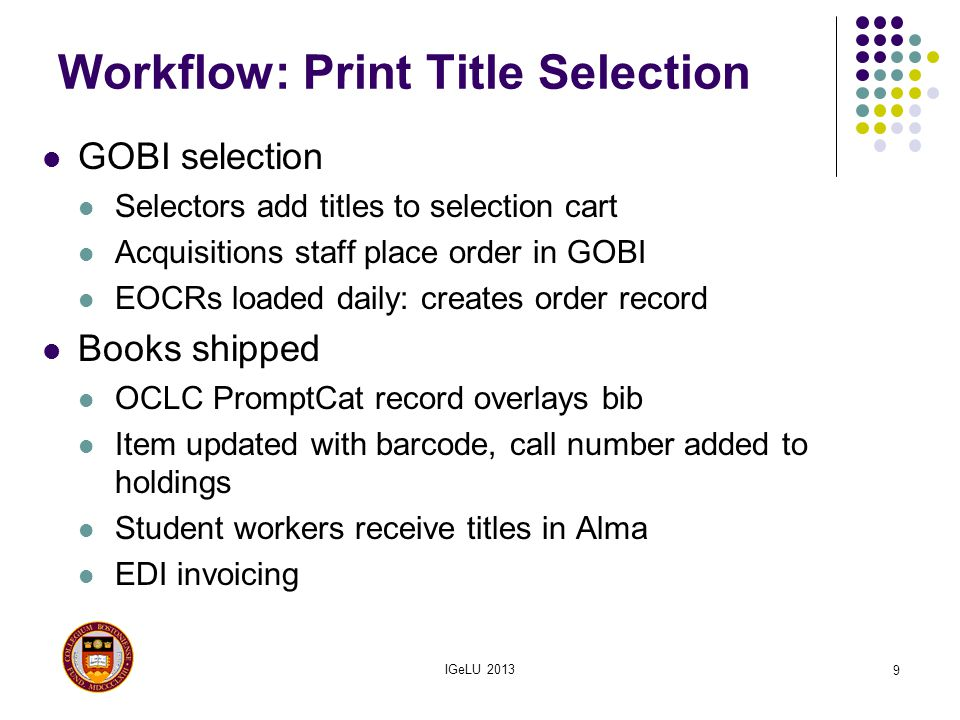 Workflow: Print Title Selection GOBI selection Selectors add titles to selection cart Acquisitions staff place order in GOBI EOCRs loaded daily: creat