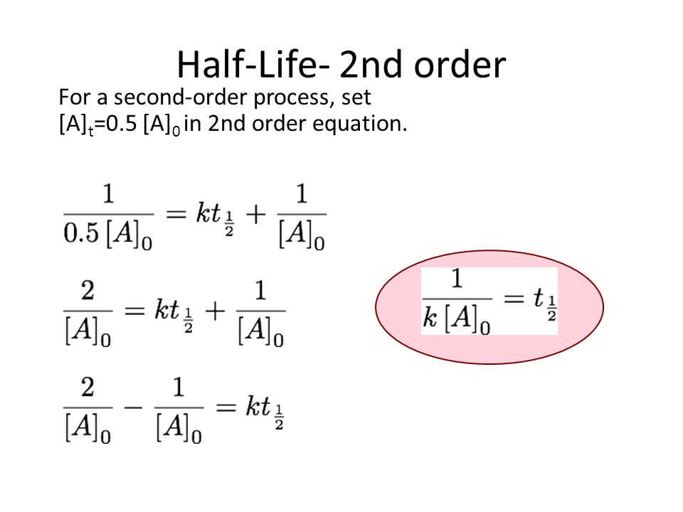 Half-Life- 2nd order For a second-order process, set [A] t =0.5 [A] 0 in 2nd order equation.