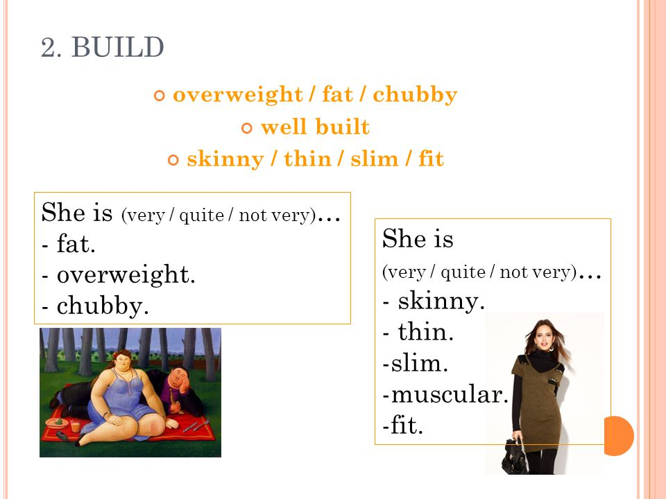 2. BUILD overweight / fat / chubby well built skinny / thin / slim / fit She is (very / quite / not very) … - skinny. - thin. -slim. -muscular. -fit.