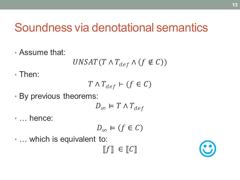 Soundness via denotational semantics 13