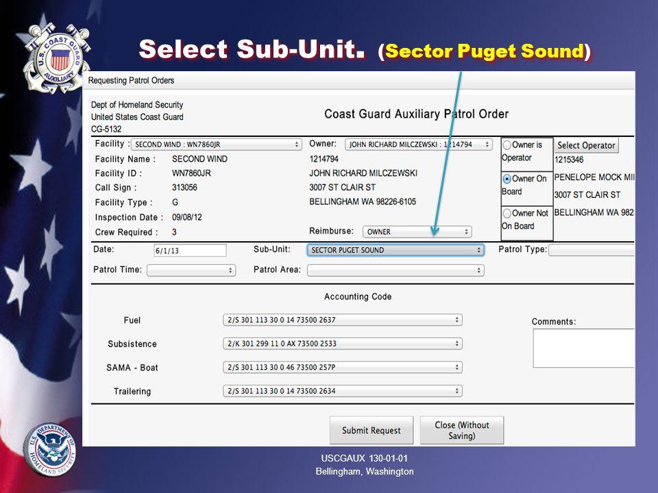 Select Sub-Unit. (Sector Puget Sound) USCGAUX 130-01-01 Bellingham, Washington