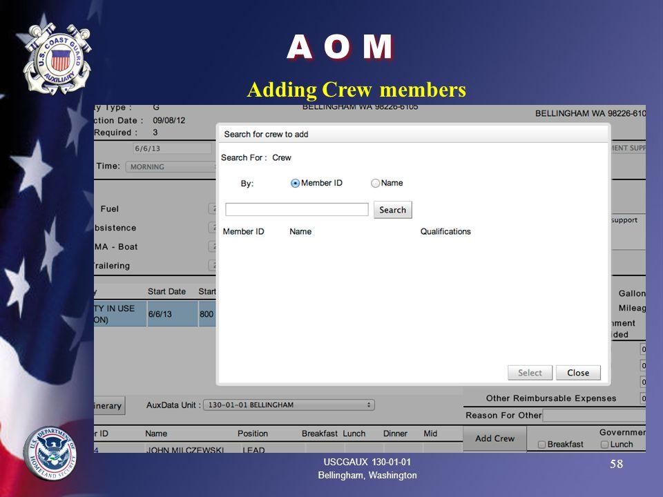 58 A O M USCGAUX 130-01-01 Bellingham, Washington Adding Crew members