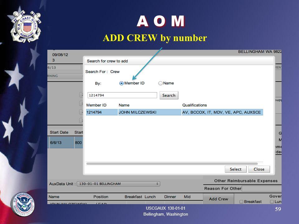 59 A O M USCGAUX 130-01-01 Bellingham, Washington ADD CREW by number