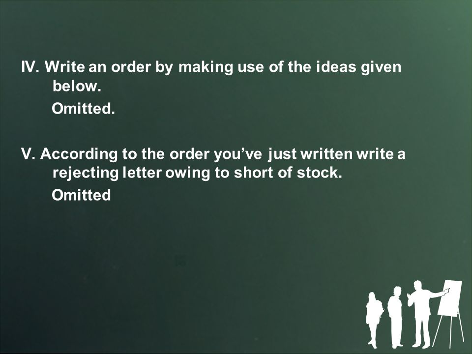 IV.Write an order by making use of the ideas given below.