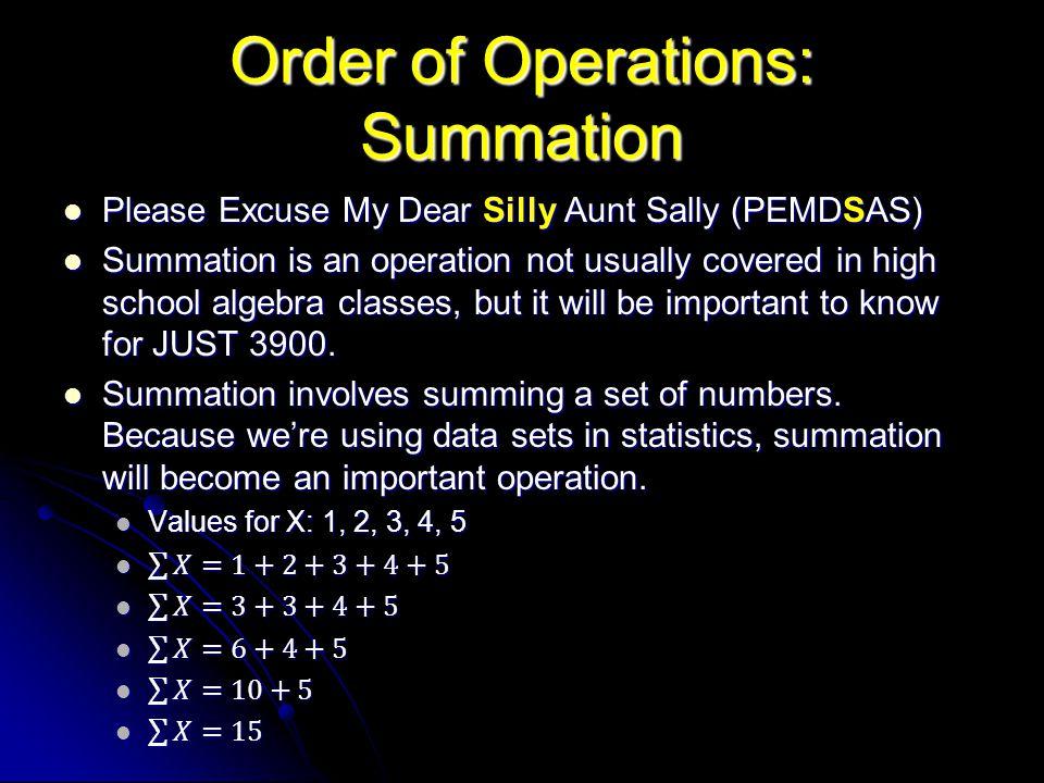 Order of Operations: Summation