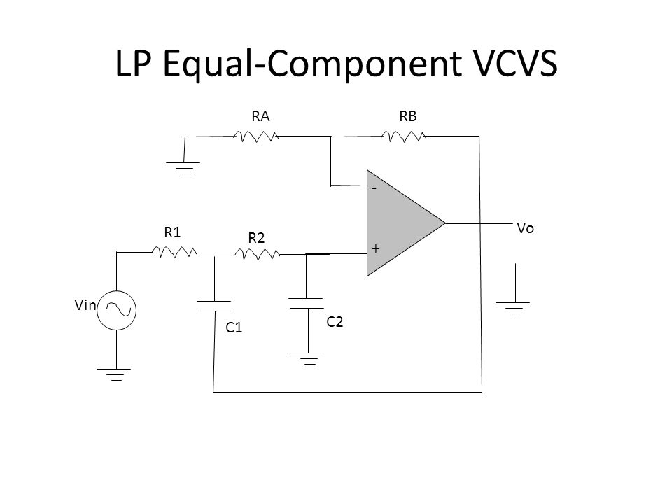 LP Equal-Component VCVS -+-+ C1C1 Vin RBRB VoVo R1R1 RARA R2R2 C2C2