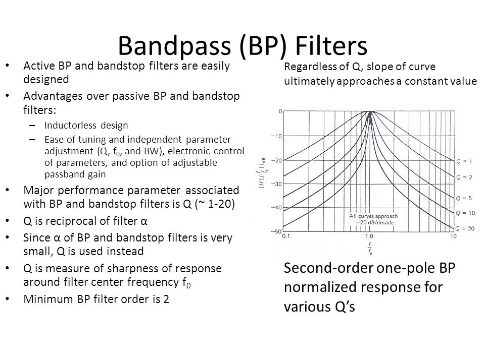 Bandpass (BP) Filters Active BP and bandstop filters are easily designed Advantages over passive BP and bandstop filters: – Inductorless design – Ease