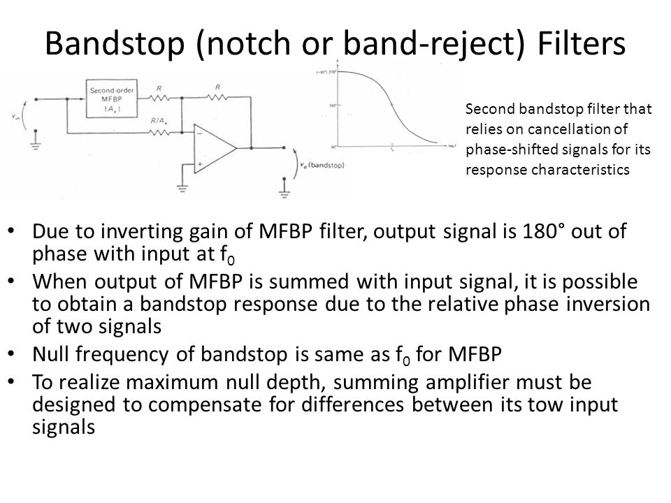 Bandstop (notch or band-reject) Filters Due to inverting gain of MFBP filter, output signal is 180° out of phase with input at f 0 When output of MFBP