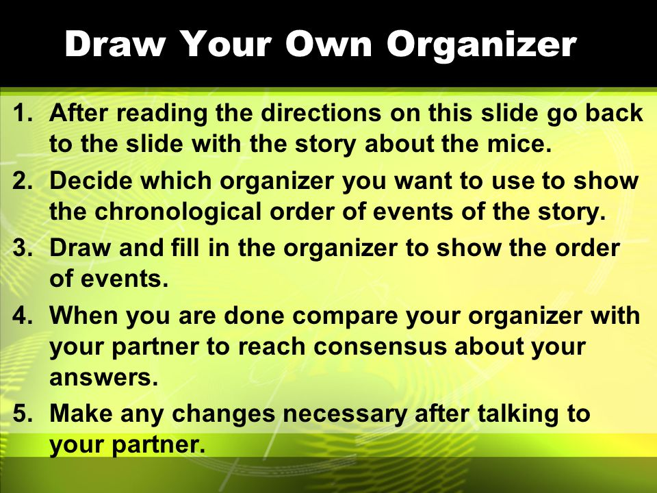 Draw Your Own Organizer 1.After reading the directions on this slide go back to the slide with the story about the mice.