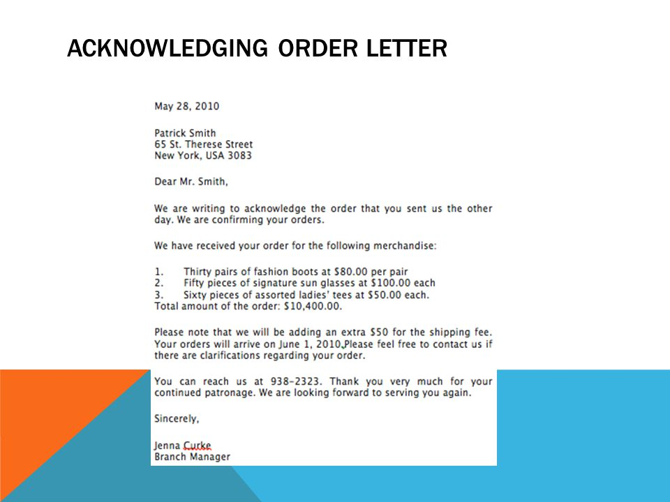 ACKNOWLEDGING ORDER LETTER