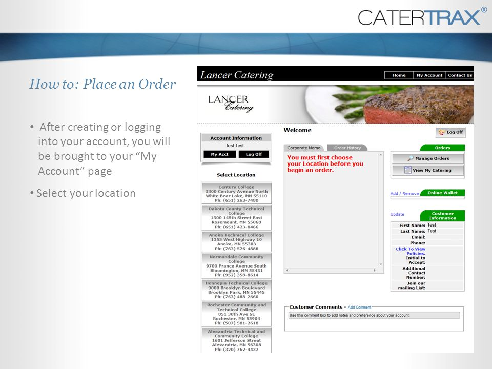 How to: Place an Order You will immediately be brought to the online menu To start your order, select a category.