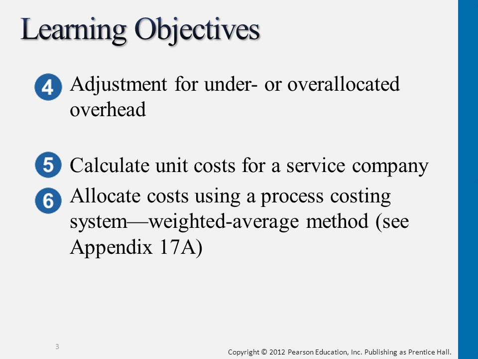 Copyright © 2012 Pearson Education, Inc. Publishing as Prentice Hall. 3 Adjustment for under- or overallocated overhead Calculate unit costs for a ser